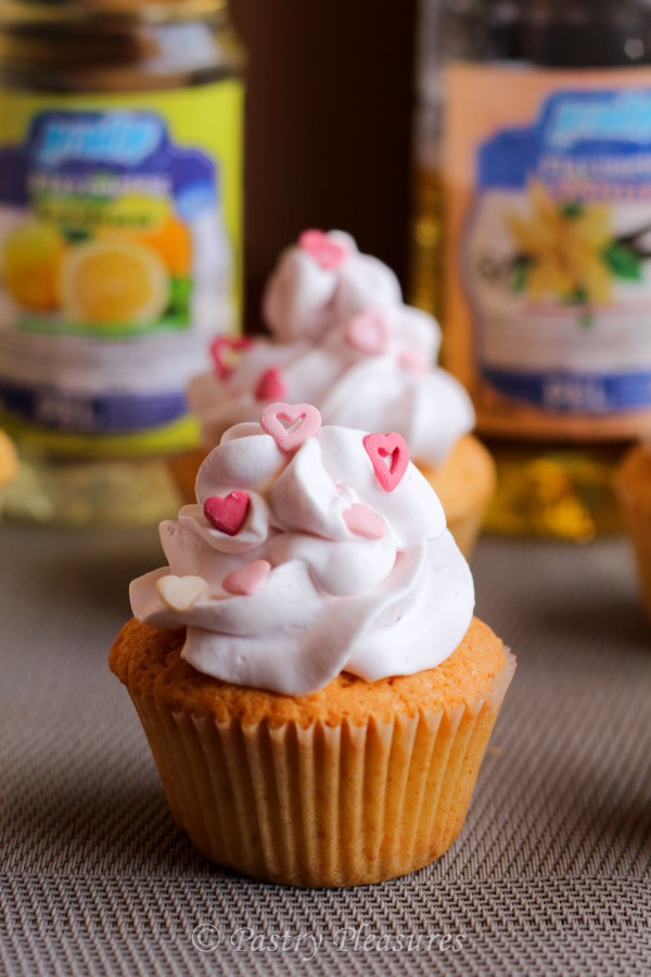 Vanilla Cupcakes, With Strawberry and Lemon Cream